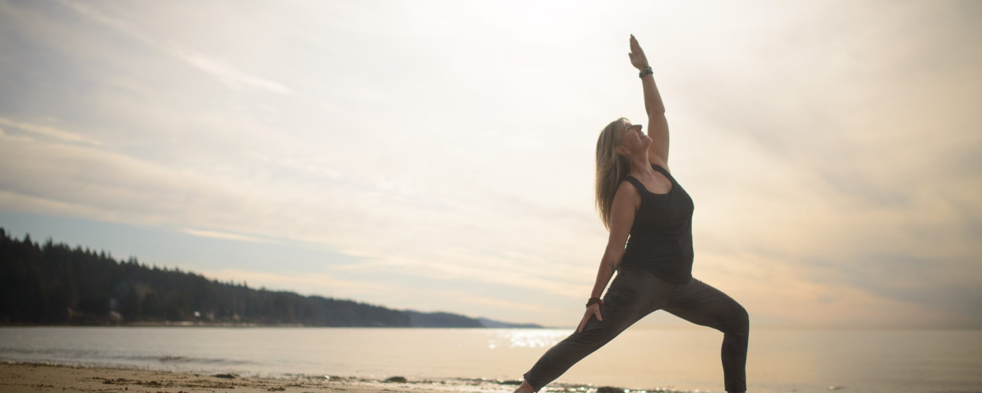 Yoga on the beach in Roberts Creek