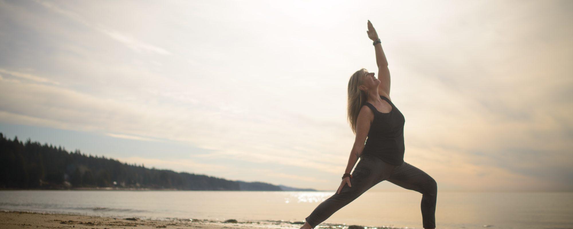 Yoga on the beach in Roberts Creek