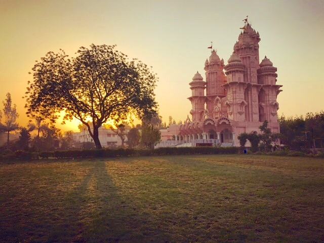 Indian temple glowing in the sunset
